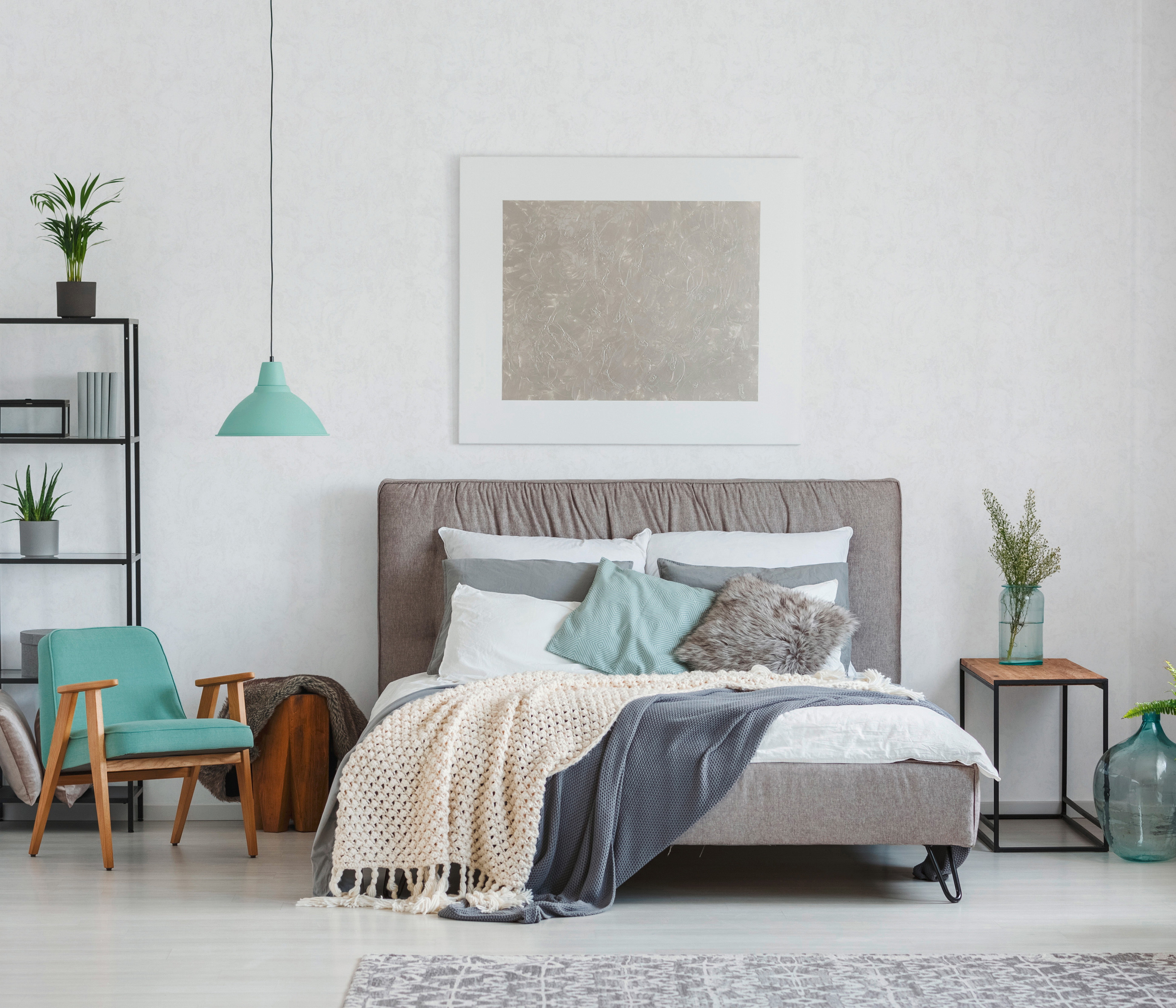 Vliestapete grau Schlafzimmer